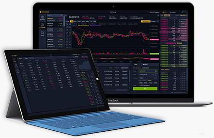 Laptopy z widokiem dashboardu Binance