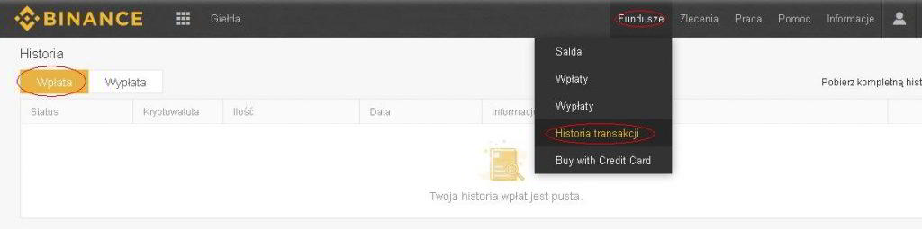 Okno przeglądu historii wpłat na konto Binance