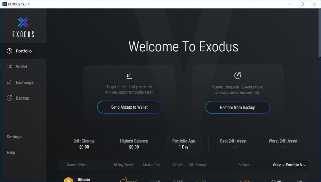 Exodus - portfel kryptowalut - instalacja