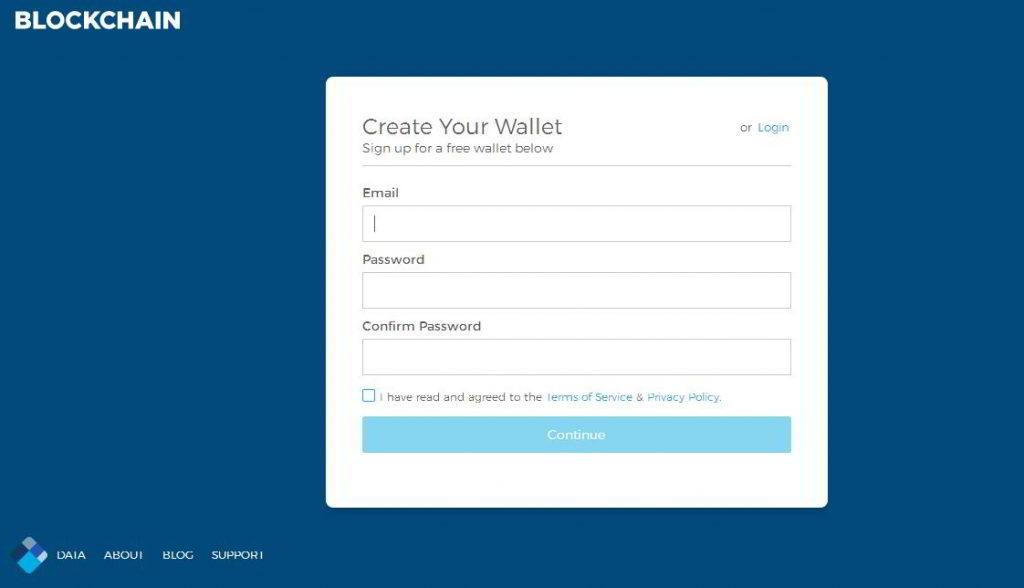 Rejestracja w blockchain.com
