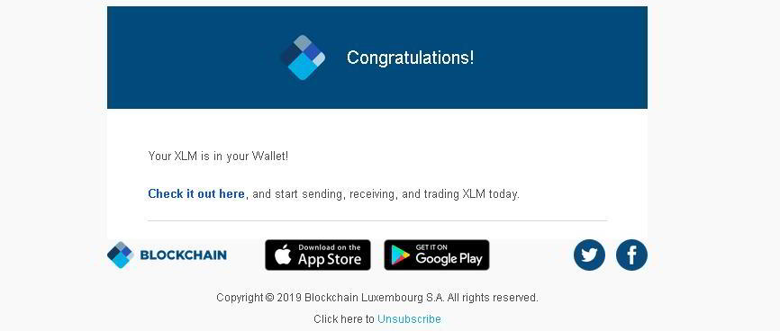 Airdrop XLM Stellar od Blockchain.com
