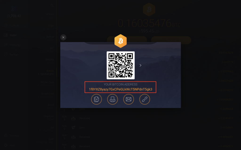 Adres portfela Bitcoin
