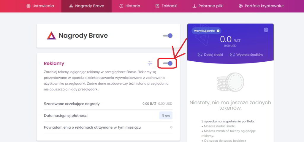Włączanie reklam w przeglądarce Brave